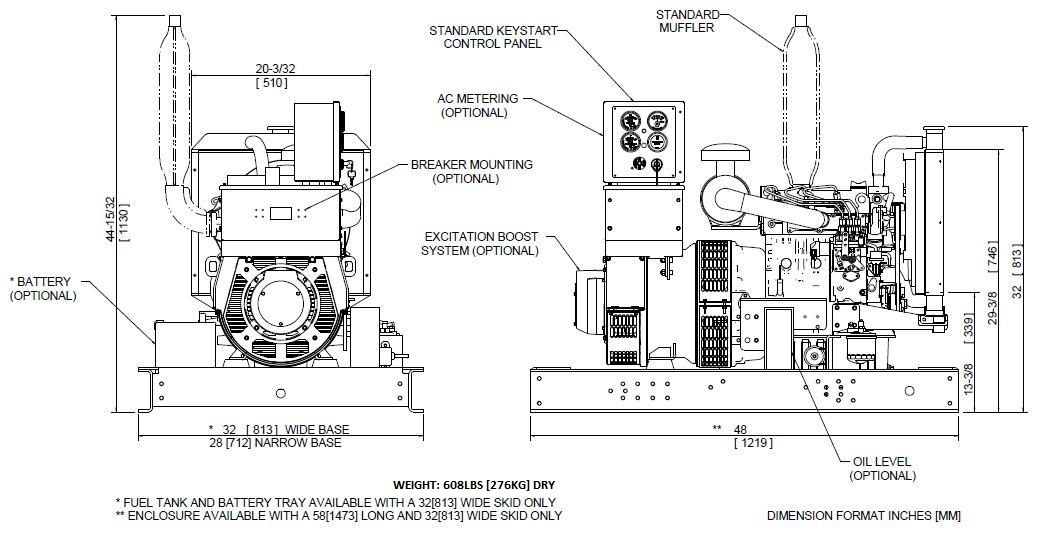 Generator set line drawing